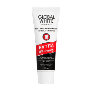 Зубная паста Global White Extra Whitening Active Oxygen And Charcoal, 30 мл